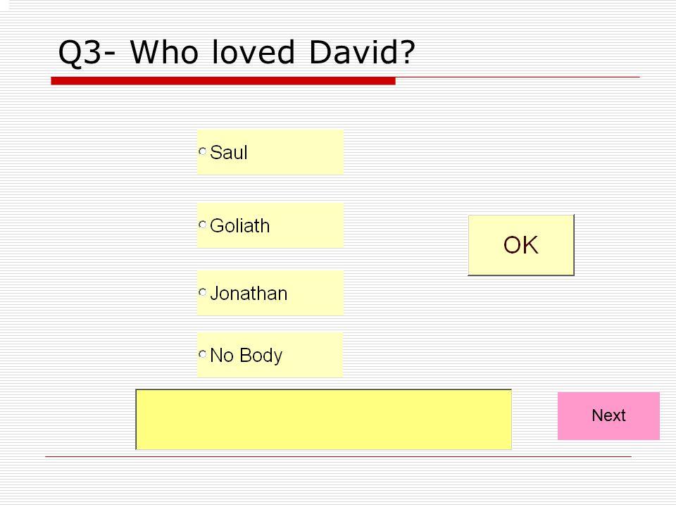 Q3- Who loved David Next