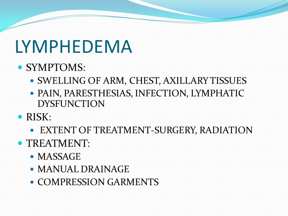 LYMPHEDEMA SYMPTOMS: SWELLING OF ARM, CHEST, AXILLARY TISSUES PAIN, PARESTHESIAS, INFECTION, LYMPHATIC DYSFUNCTION RISK: EXTENT OF TREATMENT-SURGERY, RADIATION TREATMENT: MASSAGE MANUAL DRAINAGE COMPRESSION GARMENTS