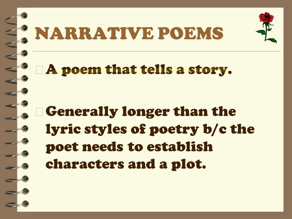 NARRATIVE POEMS 4 A poem that tells a story.