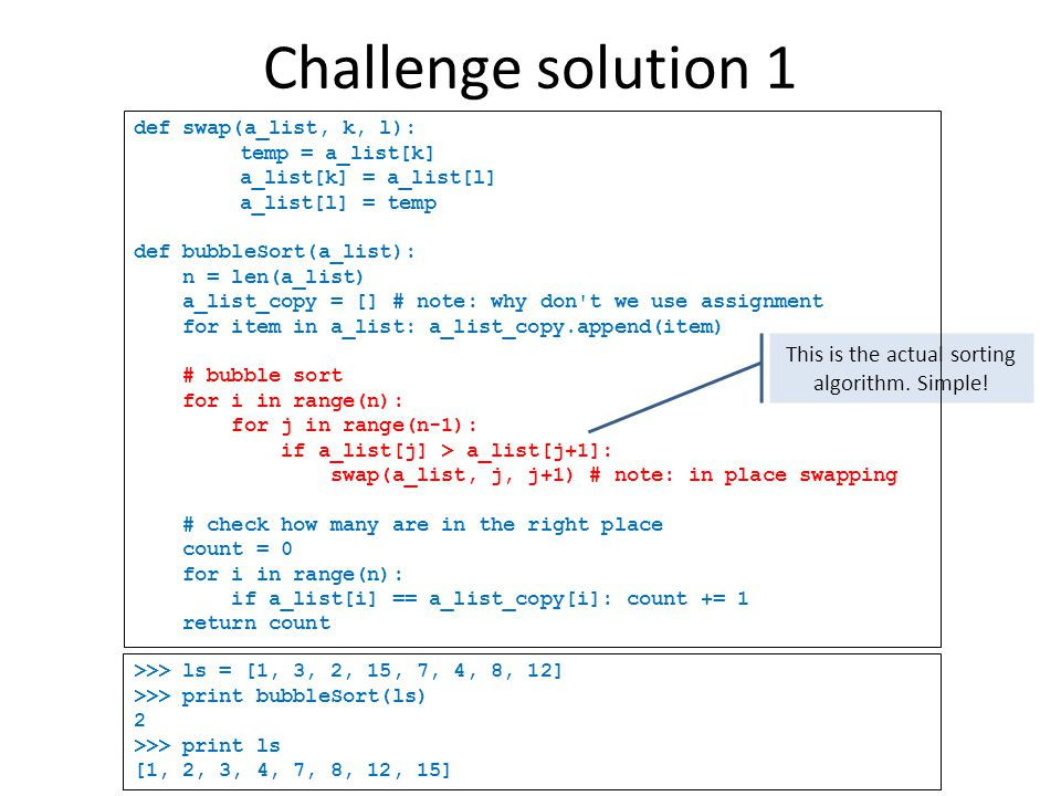 Challenge solution 1 This is the actual sorting algorithm.