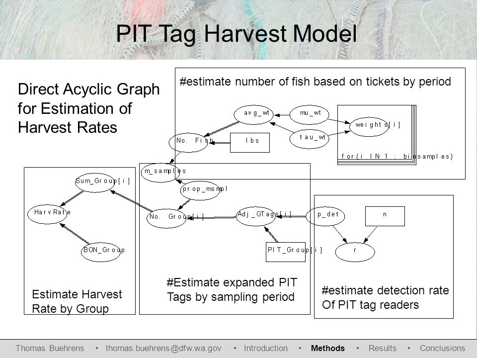 Direct Acyclic Graph for Estimation of Harvest Rates #estimate number of fish based on tickets by period #estimate detection rate Of PIT tag readers #Estimate expanded PIT Tags by sampling period Estimate Harvest Rate by Group PIT Tag Harvest Model Thomas Buehrens thomas.buehrens@dfw.wa.gov Introduction Methods Results Conclusions