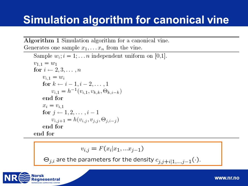 www.nr.no Simulation algorithm for canonical vine