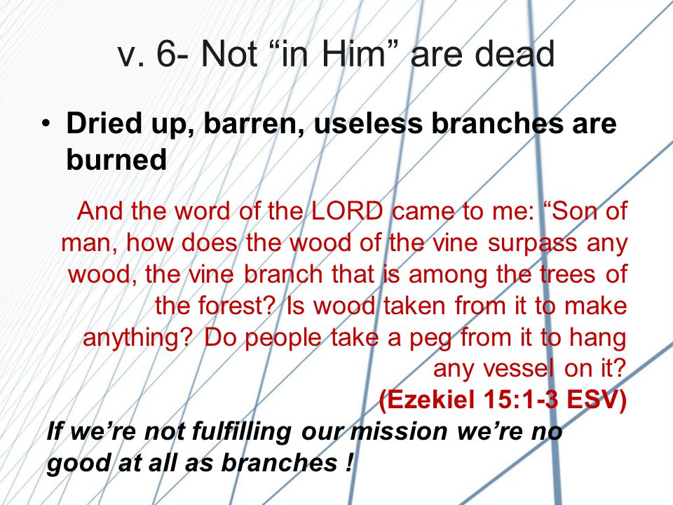 """v. 6- Not """"in Him"""" are dead Dried up, barren, useless branches are burned And the word of the LORD came to me: """"Son of man, how does the wood of the v"""