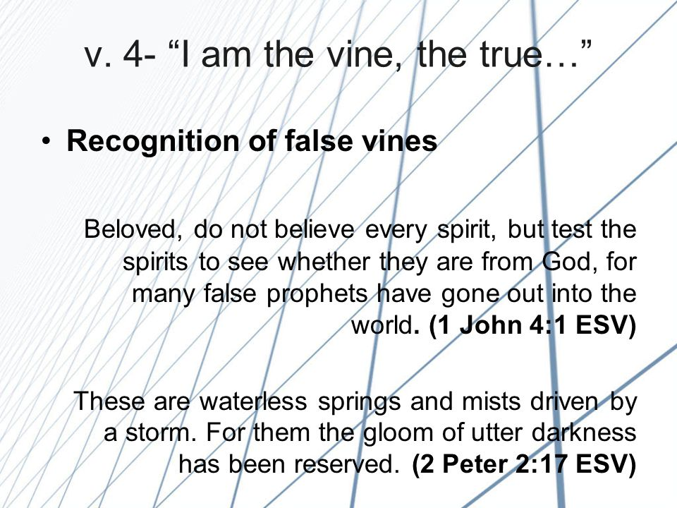 """v. 4- """"I am the vine, the true…"""" Recognition of false vines Beloved, do not believe every spirit, but test the spirits to see whether they are from Go"""