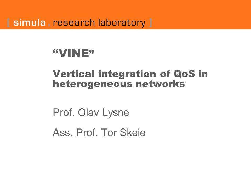 """""""VINE """" Vertical integration of QoS in heterogeneous networks Prof. Olav Lysne Ass. Prof. Tor Skeie"""