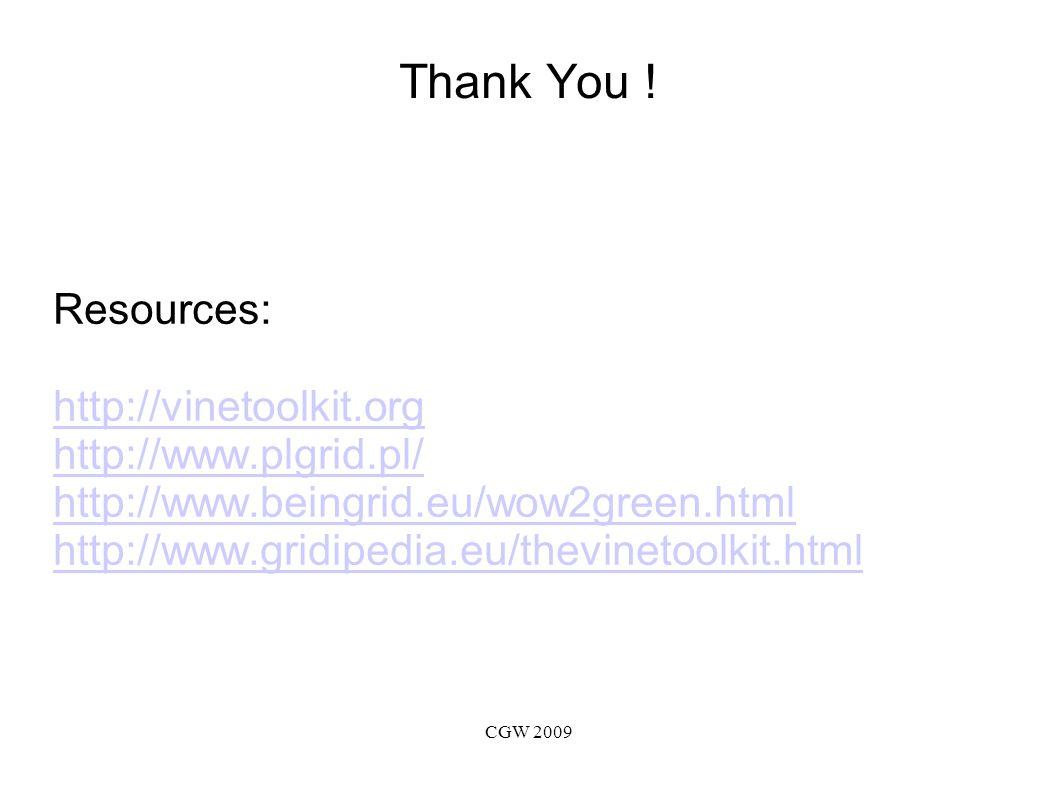 CGW 2009 Thank You .