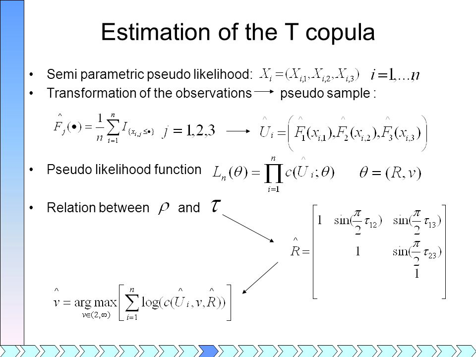 Estimation of the T copula Semi parametric pseudo likelihood: Transformation of the observations pseudo sample : Pseudo likelihood function Relation between and