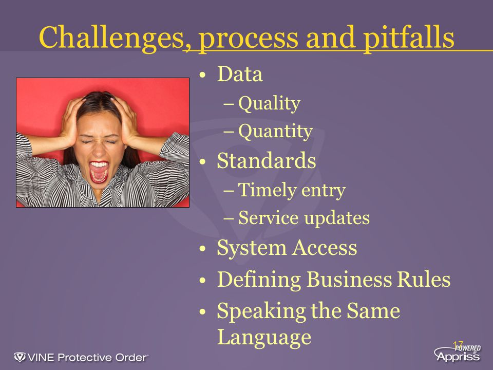 17 Challenges, process and pitfalls Data –Quality –Quantity Standards –Timely entry –Service updates System Access Defining Business Rules Speaking the Same Language
