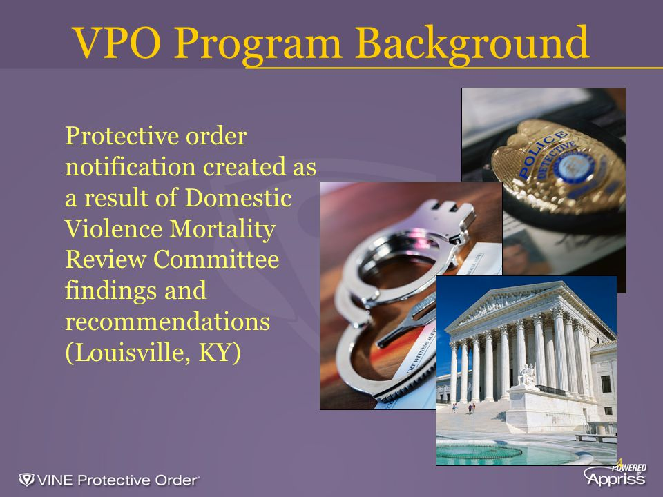 4 VPO Program Background Protective order notification created as a result of Domestic Violence Mortality Review Committee findings and recommendations (Louisville, KY)