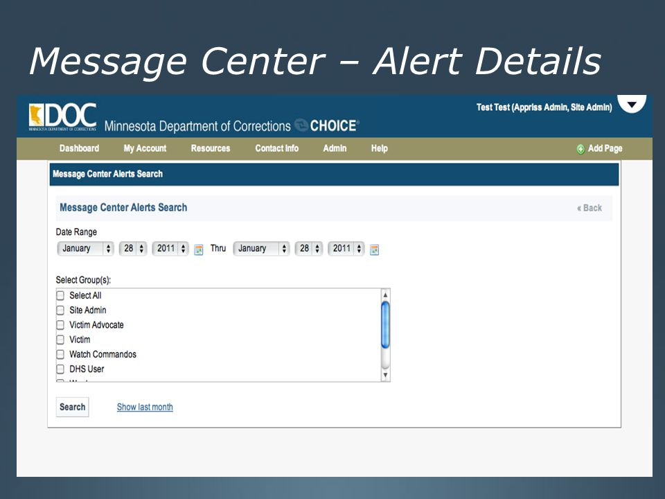 Message Center – Alert Details