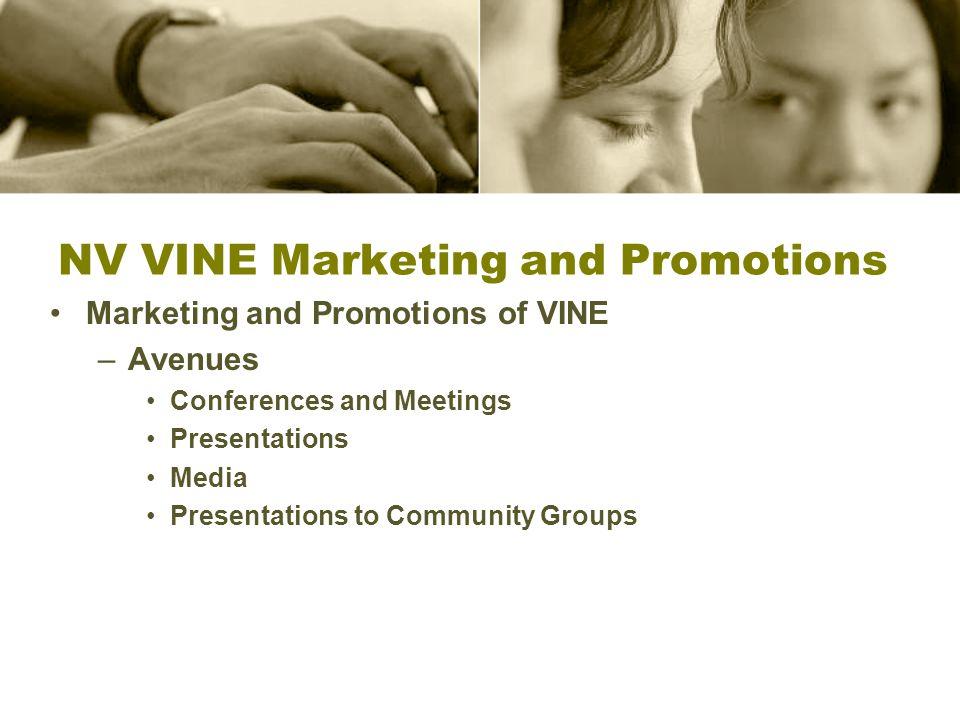 NV VINE Marketing and Promotions Marketing and Promotions of VINE –Avenues Conferences and Meetings Presentations Media Presentations to Community Gro