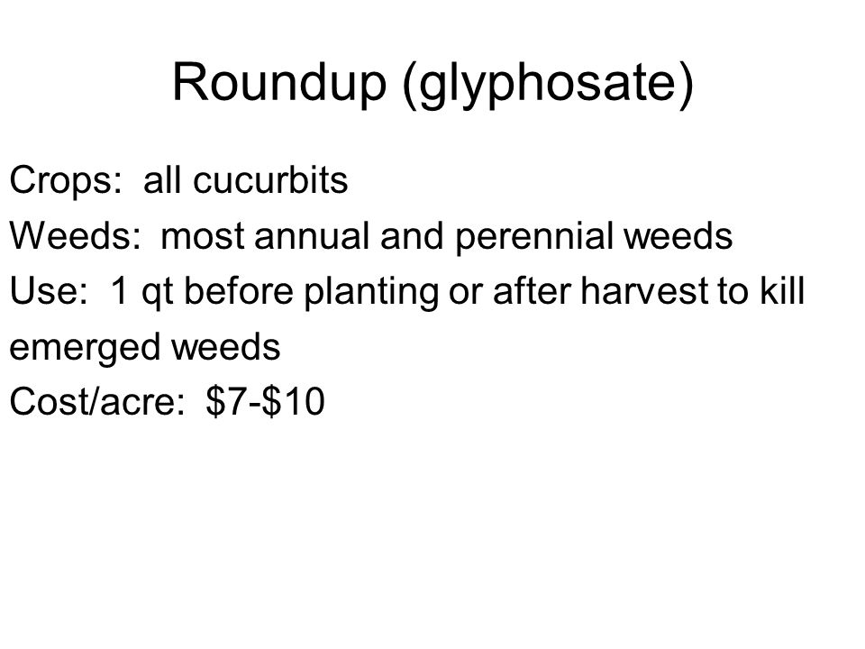 Roundup (glyphosate) Crops: all cucurbits Weeds: most annual and perennial weeds Use: 1 qt before planting or after harvest to kill emerged weeds Cost/acre: $7-$10