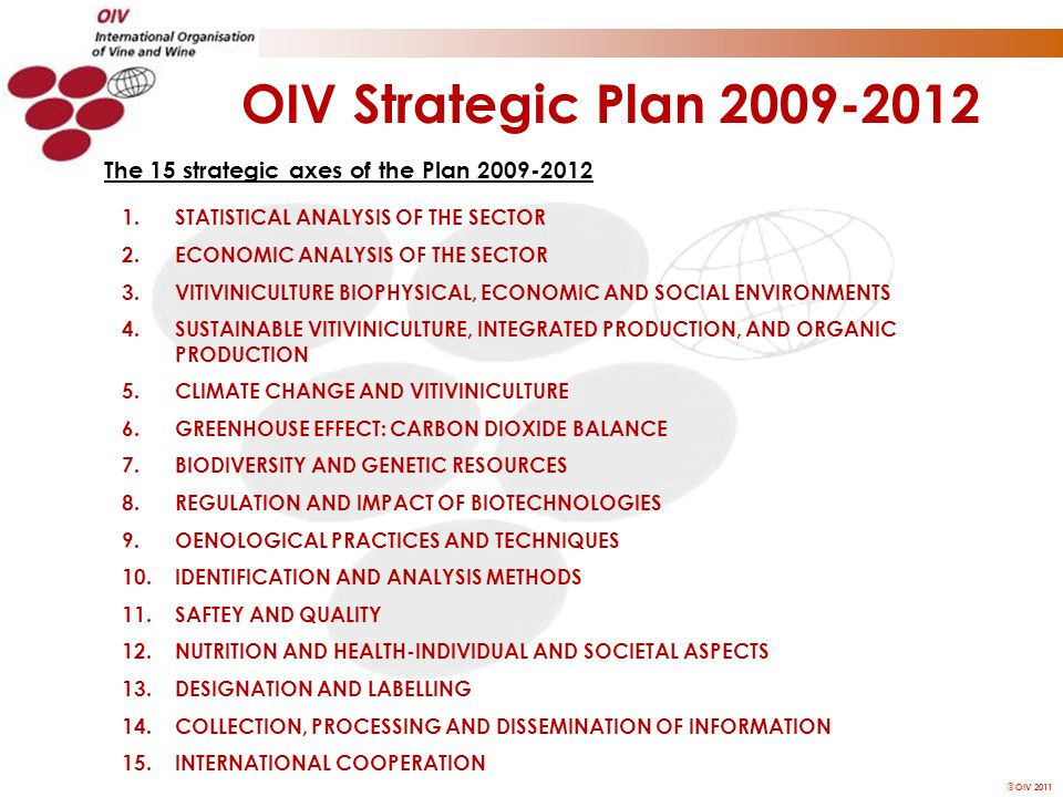  OIV 2011 The 15 strategic axes of the Plan 2009-2012 1.STATISTICAL ANALYSIS OF THE SECTOR 2.ECONOMIC ANALYSIS OF THE SECTOR 3.VITIVINICULTURE BIOPHY