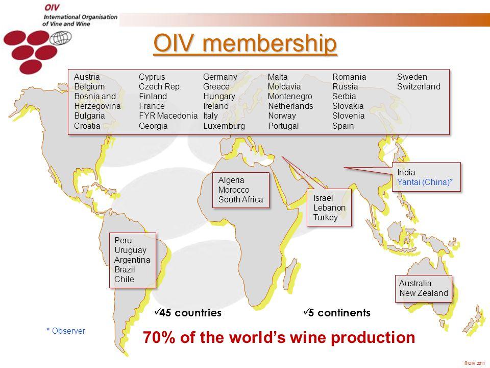  OIV 2011 OIV membership * * Observer Austria Belgium Bosnia and Herzegovina Bulgaria Croatia Cyprus Czech Rep.