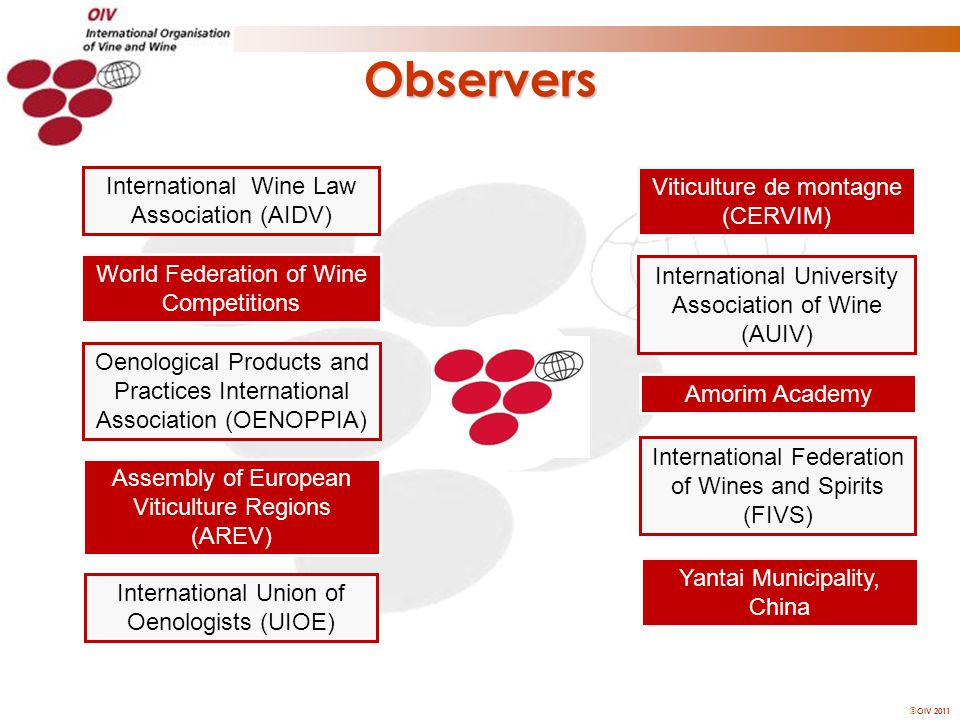  OIV 2011 Observers Yantai Municipality, China International University Association of Wine (AUIV) Amorim Academy International Federation of Wines and Spirits (FIVS) International Union of Oenologists (UIOE) International Wine Law Association (AIDV) Assembly of European Viticulture Regions (AREV) Oenological Products and Practices International Association (OENOPPIA) World Federation of Wine Competitions Viticulture de montagne (CERVIM)
