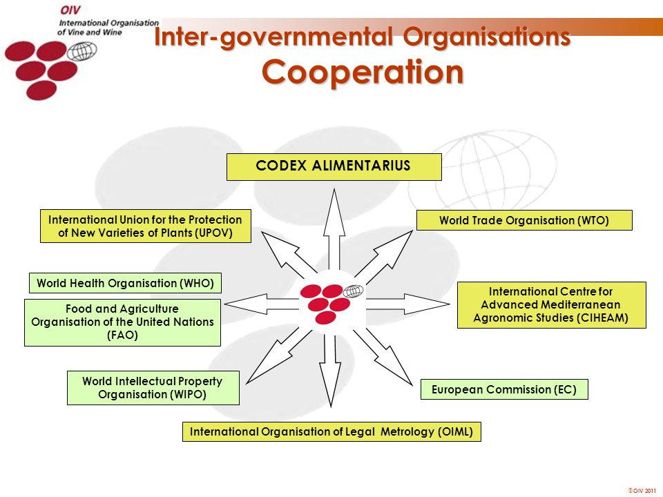  OIV 2011 Inter-governmental Organisations Cooperation International Union for the Protection of New Varieties of Plants (UPOV) World Health Organisa