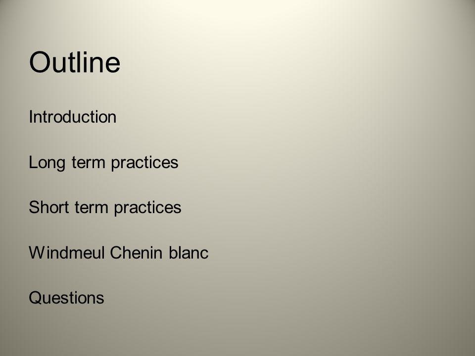 Outline Introduction Long term practices Short term practices Windmeul Chenin blanc Questions