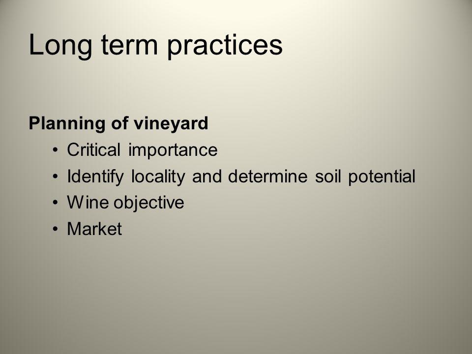 Short term practices Fertiliser programme Irrigation Pest and disease control Tillage