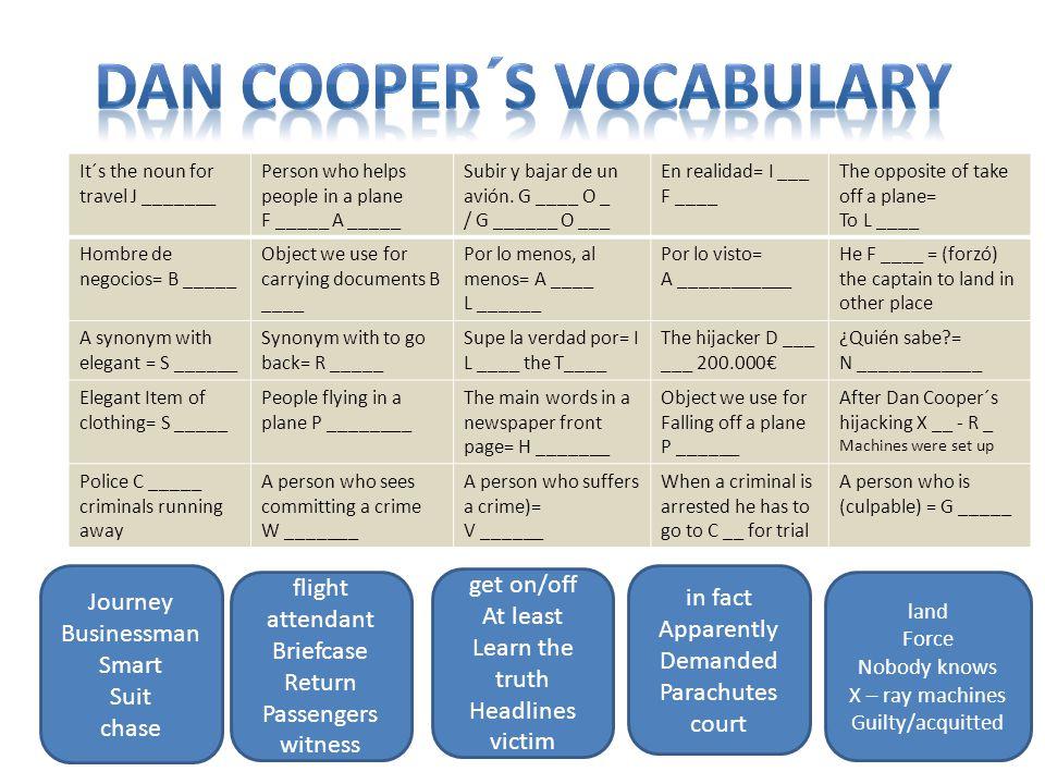 It´s the noun for travel J _______ Person who helps people in a plane F _____ A _____ Subir y bajar de un avión.