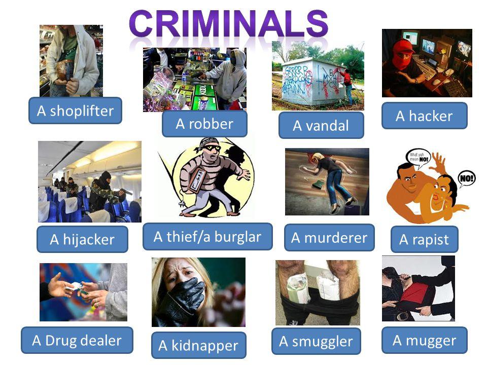 A shoplifter A robber A vandal A hacker A hijacker A thief/a burglar A murderer A rapist A Drug dealer A kidnapper A smuggler A mugger