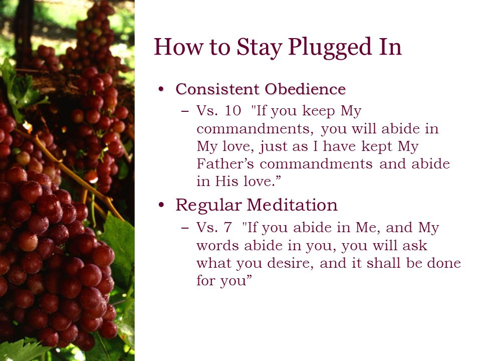 How to Stay Plugged In Consistent ObedienceConsistent Obedience –Vs.