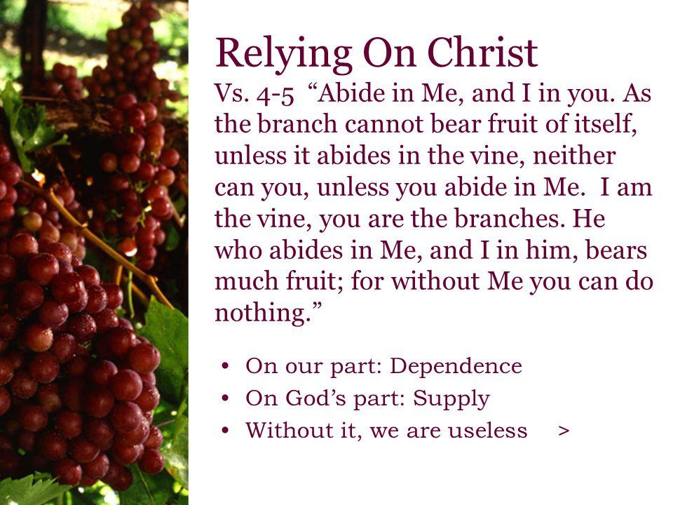 Relying On Christ Vs.