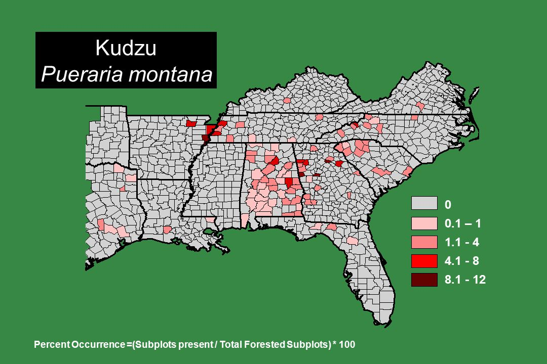 Kudzu Pueraria montana Percent Occurrence =(Subplots present / Total Forested Subplots) * 100 0 0.1 – 1 1.1 - 4 4.1 - 8 8.1 - 12