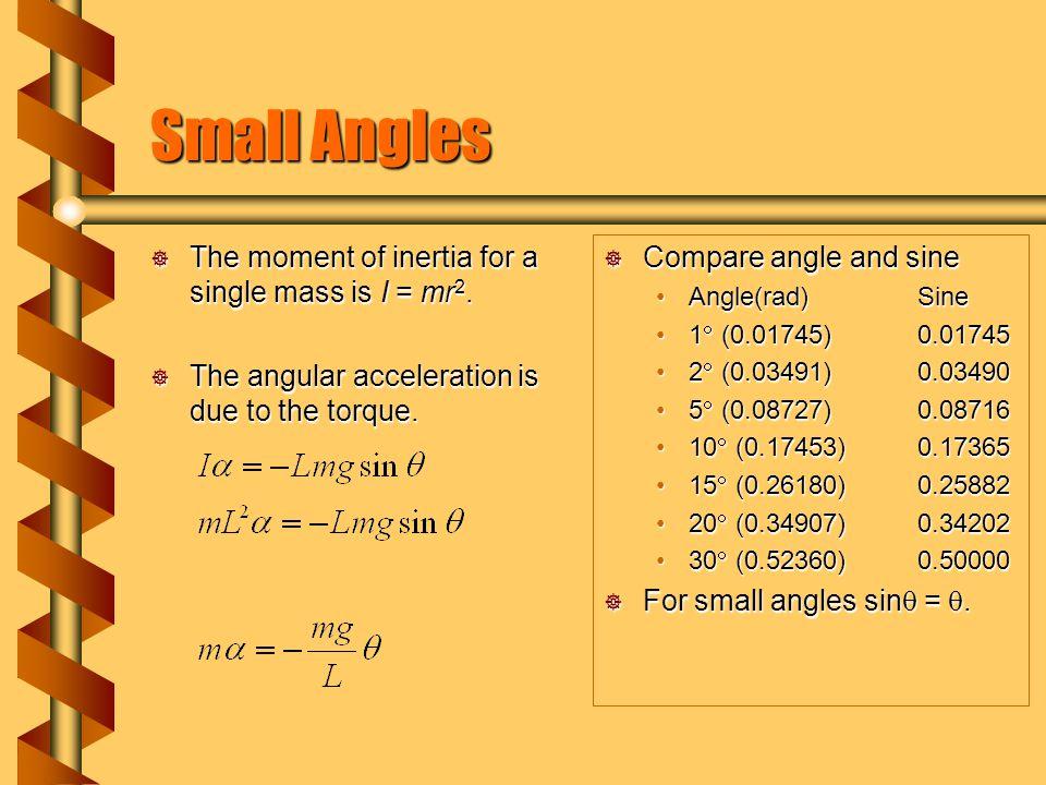 Simple Pendulum  Angular acceleration and angle are related as a simple harmonic oscillator.