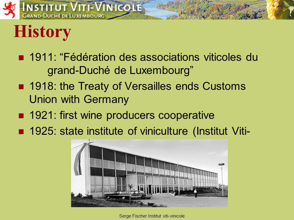 Serge Fischer Institut viti-vinicole History 1935: Quality Wine System Marque Nationale created by law 1959: extension of the Marque Nationale : quality designations Vin classé , Premier Cru and Grand Premier Cru .