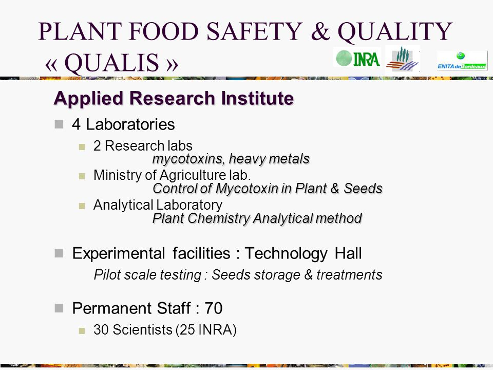 PLANT FOOD SAFETY & QUALITY « QUALIS » Applied Research Institute 4 Laboratories mycotoxins, heavy metals 2 Research labs mycotoxins, heavy metals Control of Mycotoxin in Plant & Seeds Ministry of Agriculture lab.