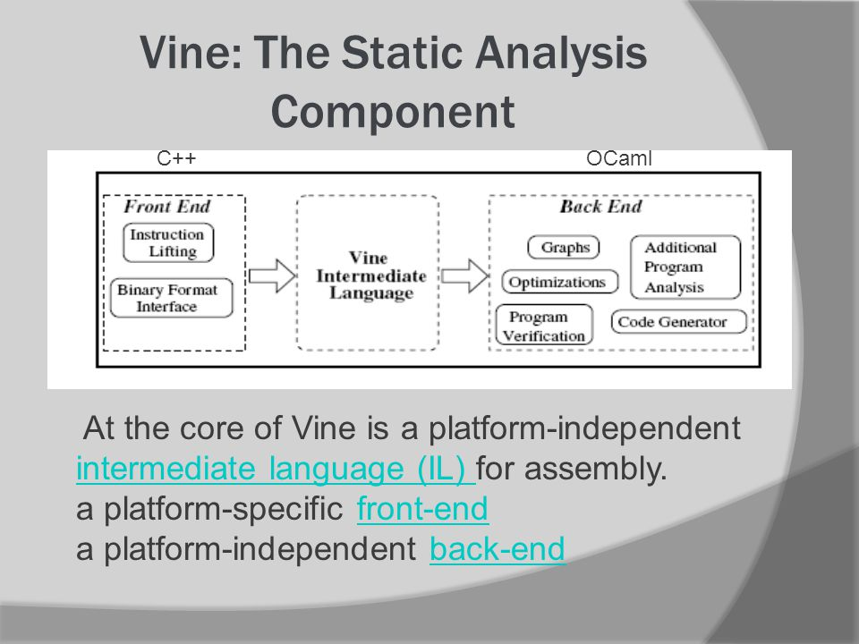 Vine: The Static Analysis Component At the core of Vine is a platform-independent intermediate language (IL) for assembly.