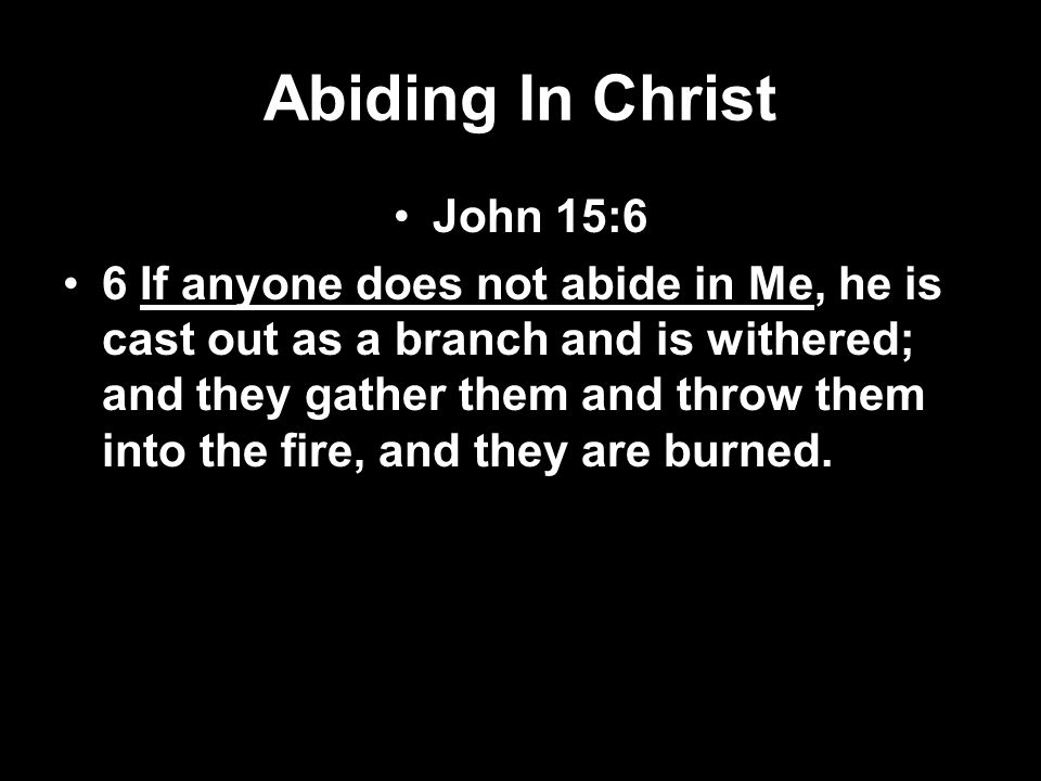 Abiding In Christ John 15:7-8 7 If you abide in Me, and My words abide in you, you will ask what you desire, and it shall be done for you.