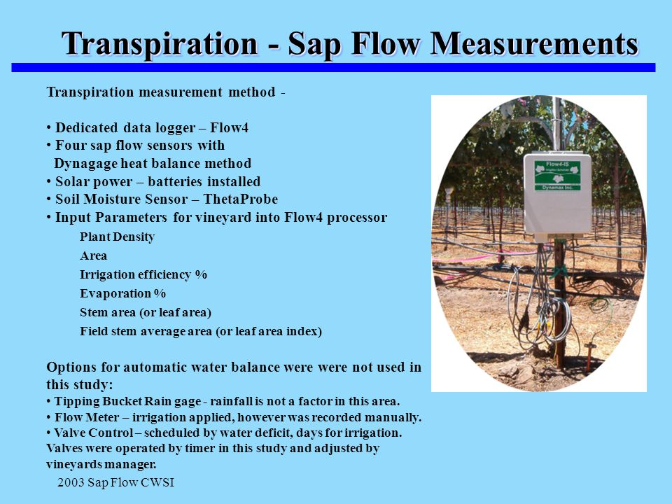 2003 Sap Flow CWSI Transpiration - Sap Flow Measurements Transpiration measurement method - Dedicated data logger – Flow4 Four sap flow sensors with D