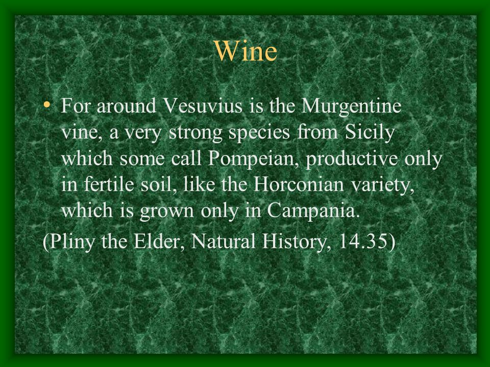 Wine For around Vesuvius is the Murgentine vine, a very strong species from Sicily which some call Pompeian, productive only in fertile soil, like the Horconian variety, which is grown only in Campania.