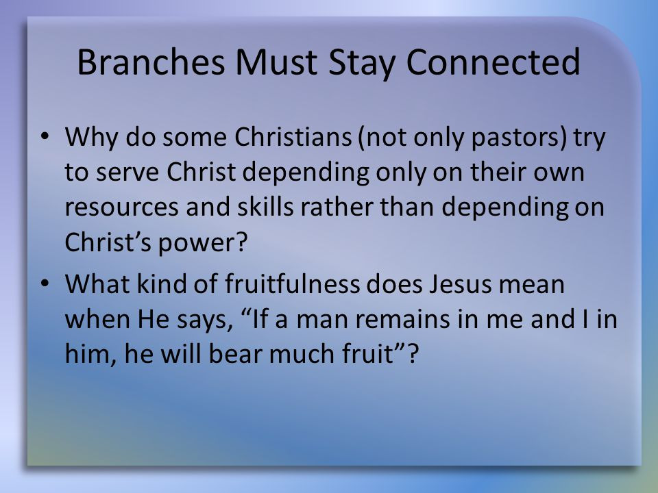 Branches Must Stay Connected Why do some Christians (not only pastors) try to serve Christ depending only on their own resources and skills rather tha