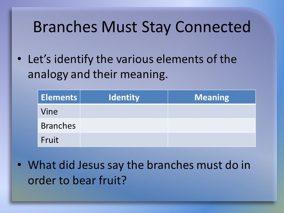 Branches Must Stay Connected Let's identify the various elements of the analogy and their meaning.