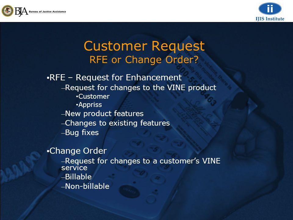 Customer Request RFE or Change Order.