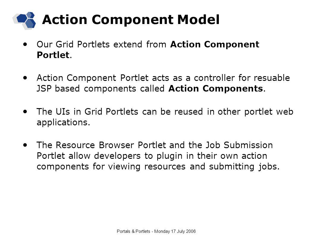 Portals & Portlets - Monday 17 July 2006 Action Component Model Our Grid Portlets extend from Action Component Portlet.