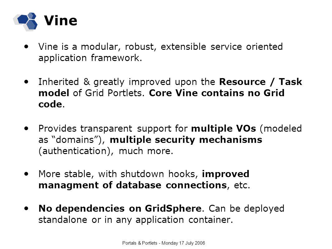 Portals & Portlets - Monday 17 July 2006 Vine Vine is a modular, robust, extensible service oriented application framework. Inherited & greatly improv