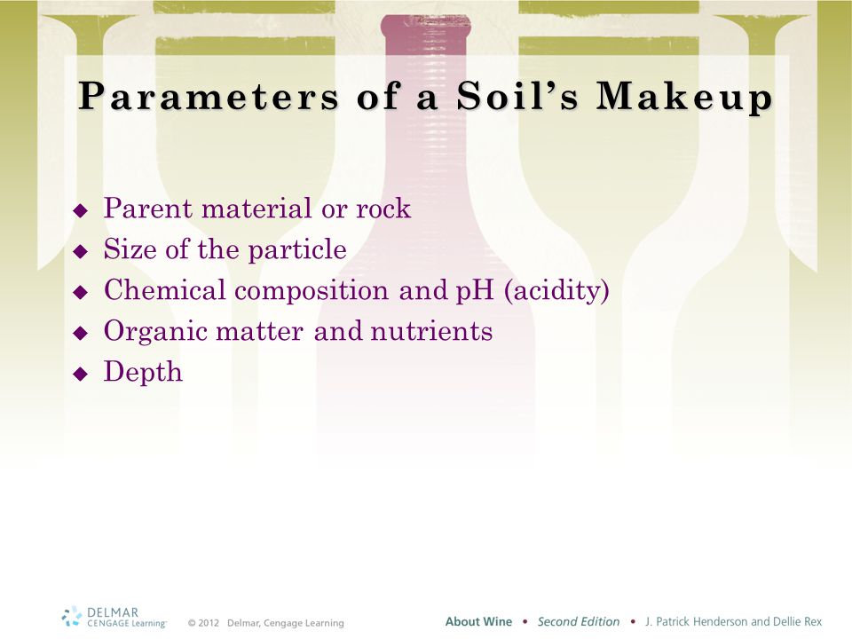 Parameters of a Soil's Makeup  Parent material or rock  Size of the particle  Chemical composition and pH (acidity)  Organic matter and nutrients  Depth