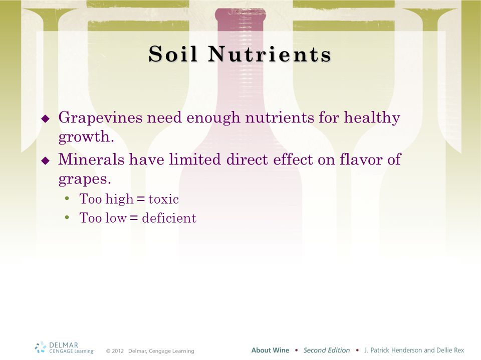 Soil Nutrients  Grapevines need enough nutrients for healthy growth.