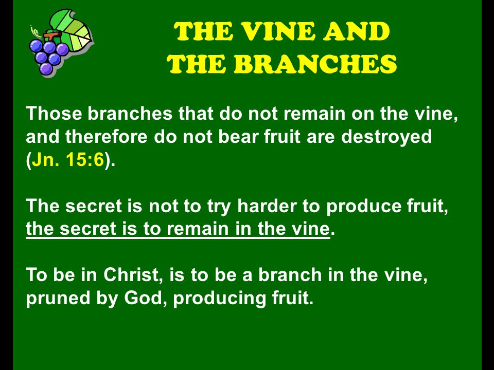 Those branches that do not remain on the vine, and therefore do not bear fruit are destroyed (Jn. 15:6). The secret is not to try harder to produce fr