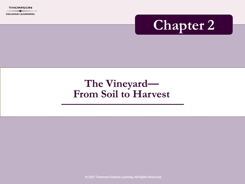 The Vineyard— From Soil to Harvest © 2007 Thomson Delmar Learning. All Rights Reserved. Chapter 2