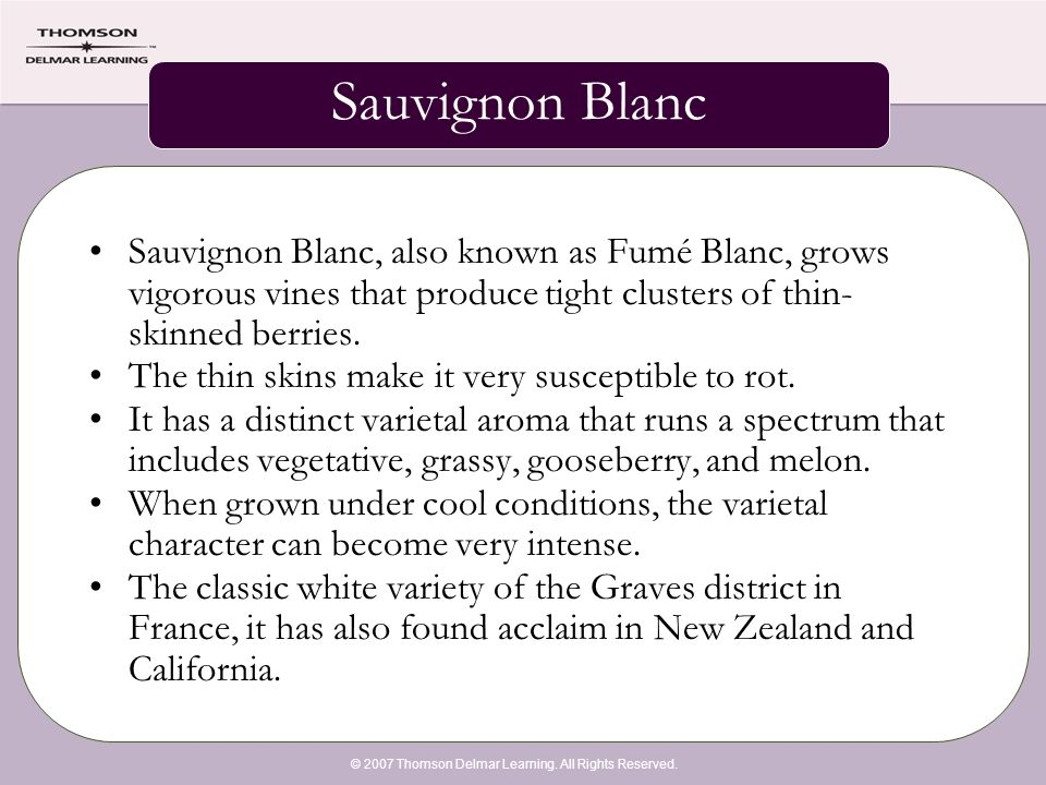 © 2007 Thomson Delmar Learning. All Rights Reserved. Sauvignon Blanc Sauvignon Blanc, also known as Fumé Blanc, grows vigorous vines that produce tigh