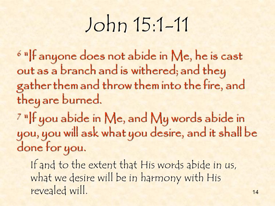 14 John 15:1-11 6 If anyone does not abide in Me, he is cast out as a branch and is withered; and they gather them and throw them into the fire, and they are burned.