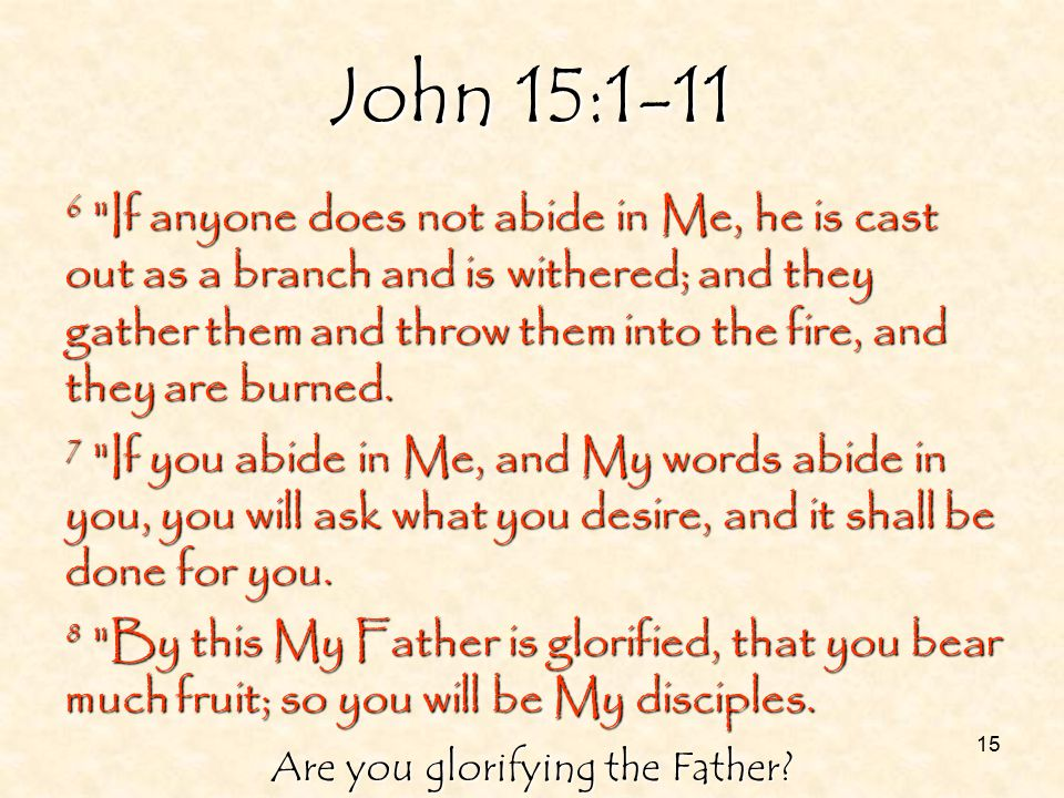 15 John 15:1-11 6 If anyone does not abide in Me, he is cast out as a branch and is withered; and they gather them and throw them into the fire, and they are burned.