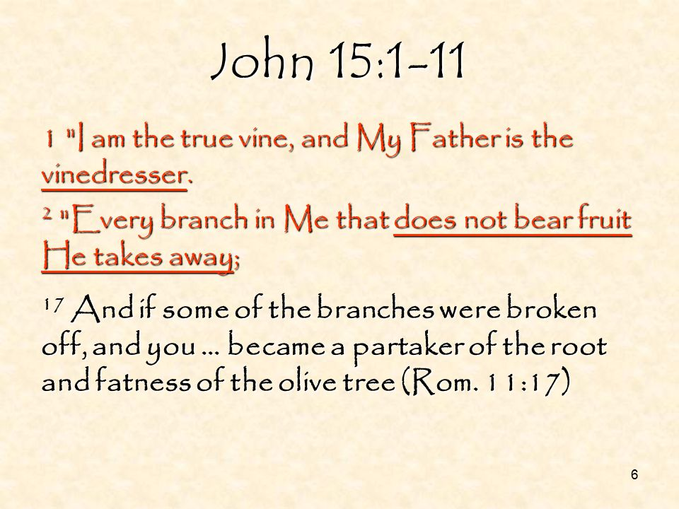 7 1 I am the true vine, and My Father is the vinedresser.