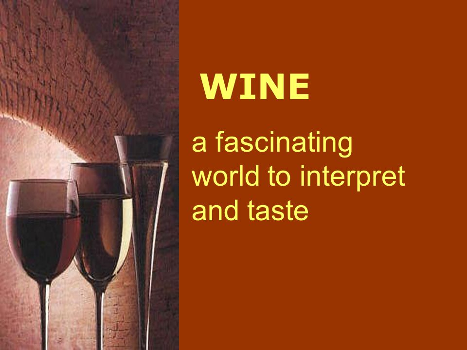 WINE a fascinating world to interpret and taste