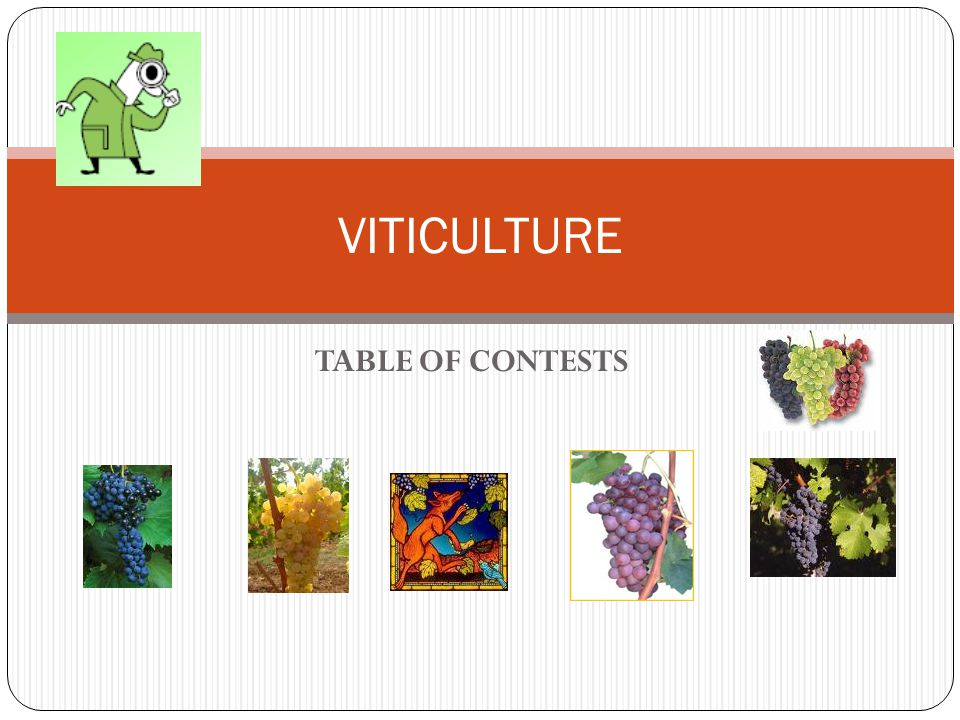 TABLE OF CONTESTS VITICULTURE