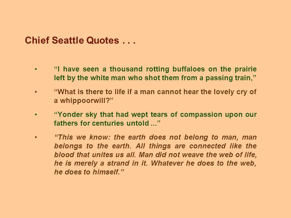 Chief Seattle Quotes...